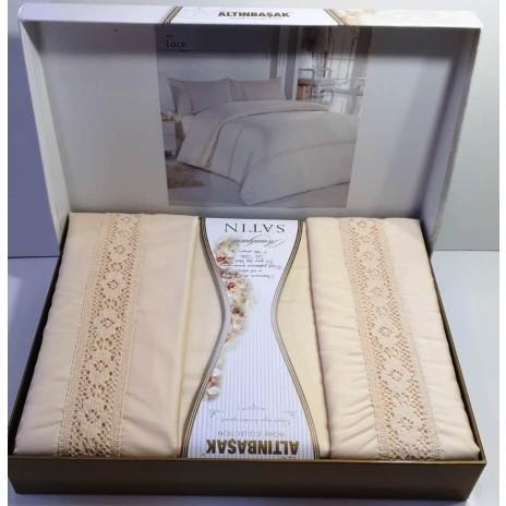 Lenjerie de pat premium satin de lux cu dantela, Altinbasak, Lace - Krem