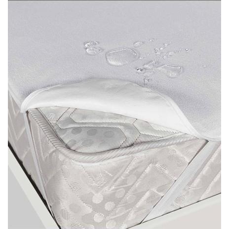 Protectie de pat  200x200cm impermeabila bumbac 100%, frotir, alba