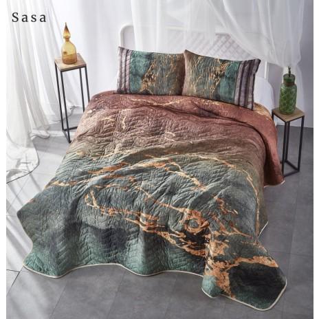 Set 3 piese cuvertura 240x260cm + 2 fete perna 50x70cm, bumbac 100%,Club Cotton, Sasa