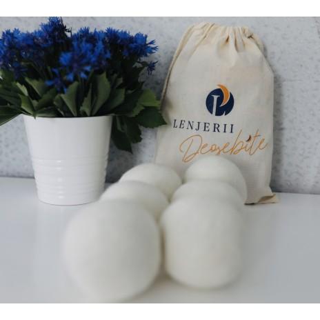 Set 6 bile lâna 100% organica pentru uscator ambalate in saculet