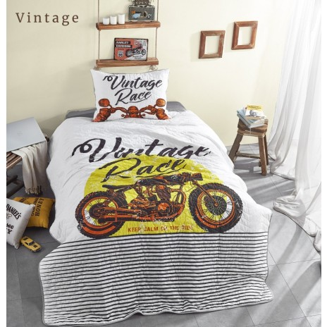 Set cuvertura matlasata + 1 fata perna bumbac 100%, Club Cotton, Vintage
