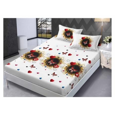 Set husa de pat din finet + 2 fete de perna pentru saltea de 140x200cm HPF213