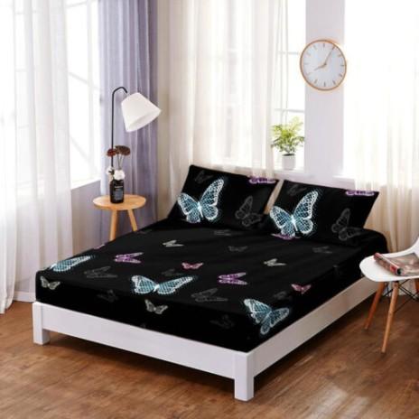 Set husa de pat din finet + 2 fete de perna pentru saltea de 180x200cm HPF3